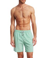 Saks Fifth Avenue Collection Seersucker Striped Swim Trunks - Green