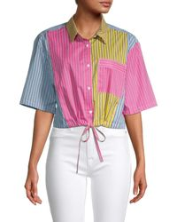French Connection Aya Striped Cropped Shirt - Pink
