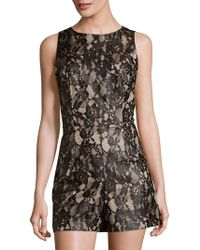 Alice + Olivia - Ashleigh Lace And Satin Playsuit - Lyst