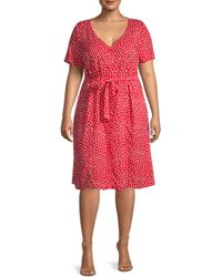 Estelle Women's Plus Polka Dot A-line Dress - Red Milk - Size 1x (14-16)