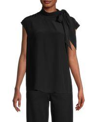 St. John Scarf-neck Silk Shell - Black