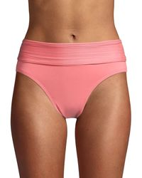 Robin Piccone Pleated-waist Bikini Bottom - Pink