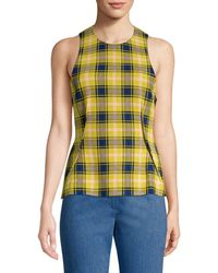 Derek Lam Plaid Wool-blend Tie-back Top - Multicolor