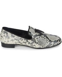 Giuseppe Zanotti - Python-print Embossed Leather Loafers - Lyst