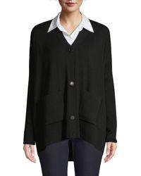 Lafayette 148 New York Oversized Merino Wool Cardigan Jumper - Black