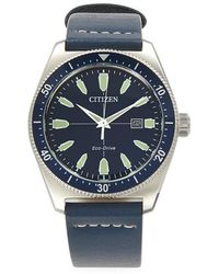 Citizen Men's Brycen Eco-drive Stainless Steel Chronograph Leather Strap Watch - Blue