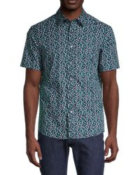 Michael Kors Men's Clover-print Short-sleeve Shirt - Grass Green - Size M