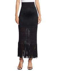 Galvan London Vesper Jersey Fringed Skirt - Black
