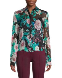 Diane von Furstenberg Dalary 2-in-1 Silk Floral Shirt - Black