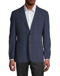 Armani Men's Plaid Wool-blend Blazer - Solid Dark - Size 50 (40) R - Blue