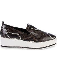 Karl Lagerfeld Brea Snakeskin-embossed Leather Platform Loafers - Black
