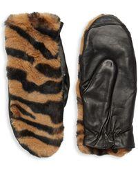 Saks Fifth Avenue Tiger-print Faux Fur-trim Gloves - Brown