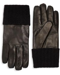 Saks Fifth Avenue Men's Ribbed Cuff Leather Gloves - Black - Size S