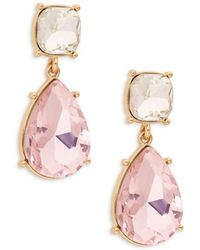 Ava & Aiden Goldtone & Gemstone Dangle Teardrop Earrings - Pink