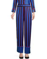 Alice + Olivia Benny Striped Silk Pajama Pants - Blue
