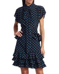 Michael Kors Women's Ruffle-trimmed Polka Dot Silk Dress - Black Cadet - Size 10