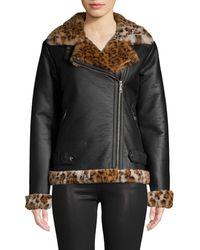 Sam Edelman Faux Fur-trim Moto Jacket - Black