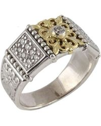 Konstantino - Asteri Pavé White Diamond, 18k Yellow Gold And Sterling Silver Ring - Lyst