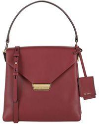 Prada Top Handle Leather Satchel - Red