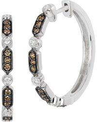 Le Vian Chocolatier® 14k Vanilla Gold®, Vanilla Diamond® & Chocolate Diamond® Hoop Earrings - Metallic
