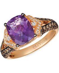 Le Vian 14k Strawberry Gold®, Grape Amethysttm, Chocolate Diamonds® & Vanilla Diamonds® Ring - Multicolour