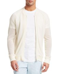 Saks Fifth Avenue Collection Front-zip Wool Mesh Jumper - White