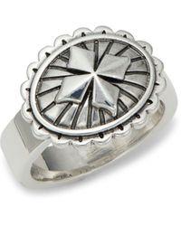 King Baby Studio Sterling Silver Mb Cross Concho Ring - Metallic
