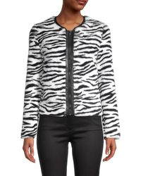 Bailey 44 Zebra-print Faux Fur Jacket - Black