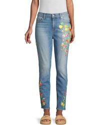 7 For All Mankind High-rise Embroidered Floral Skinny Ankle Jeans - Blue