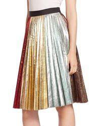Romance Was Born Metallic Accordion Rainbow Pleated Skirt