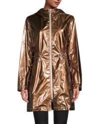 Jane Post Women's Metallic Hooded Anorak - Bronze - Size Xs - Multicolor