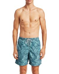 Saks Fifth Avenue Collection Paisley Swim Trunks - Blue