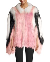 House of Fluff Convertible Cape Faux Fur Jacket - Pink