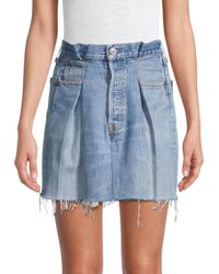 RE/DONE Women's Pleated Denim Skirt - Indigo - Size 30 (8-10) - Blue