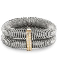 Alor - Kai 18k Gold & Stainless Steel Diamond Tiered Coiled Bangle Bracelet - Lyst