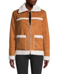 Sam Edelman Faux Suede & Faux Fur-trimmed Jacket - Multicolour