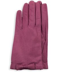 Portolano Women's Perforated Leather Gloves - New Rose - Size 7.5 - Multicolour
