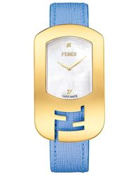 Fendi Chameleon Goldtone Stainless Steel, Mother-of-pearl & Saffiano Leather Large Signature Strap Watch - Metallic