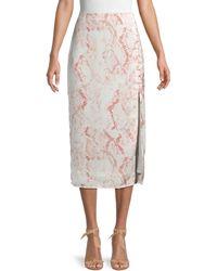 Cupcakes And Cashmere Fairfax Snakeskin-print Midi Skirt - Natural