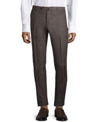 Isaia Regular-fit Linen Pants - Brown