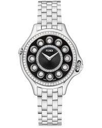 Fendi Crazy Carats Stainless Steel, Topaz & Diamond Bracelet Watch - Gray