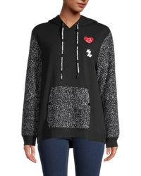 Karl Lagerfeld Tweed-panel Hoodie - Black