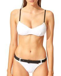 Solid & Striped Textured Bikini Top - White