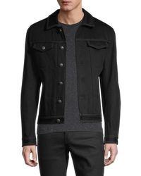 John Varvatos Men's Slim-fit Zipper-trim Denim Jacket - Black - Size 48