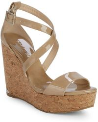 Jimmy Choo Portia Patent Leather Wedge Sandals - Natural