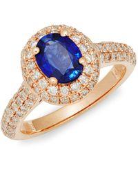 Effy 14k Rose Gold, Sapphire & Diamond Solitaire Ring - Multicolour