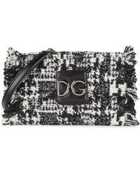 Dolce & Gabbana Women's Millennials Tweed Shoulder Bag - White Black