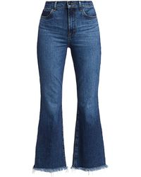 J Brand Julia High-rise Frayed Hem Crop Flare Jeans - Blue