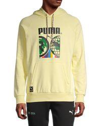 PUMA Men's International Graphic Hoodie - Yellow - Size Xl