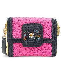 Dolce & Gabbana Small Dg Millennials Raffia Crossbody Bag - Pink